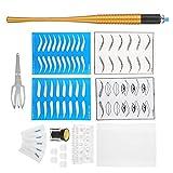 Kit de Microblading para Cejas, 11 Tipos de Kit de Suministros de Maquillaje Semipermanente para Cejas de Tatuaje, Regla de Medición, Pigmento, Herramientas de Práctica(10#)