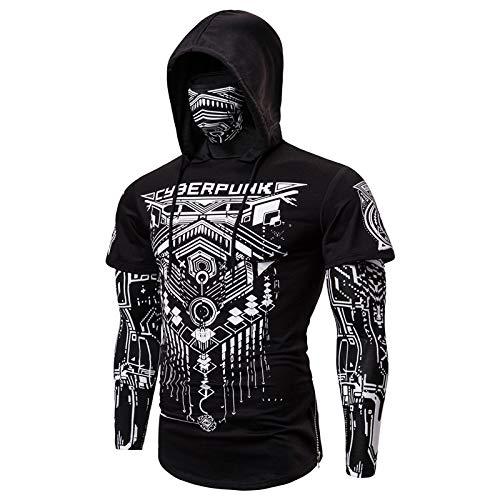 HOSD Camiseta de manga larga de los hombres de la impresión casual de fondo de la camisa de - negro - XX-Large