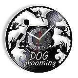 ZFANGY Orologio da Parete Decorativo per toelettatura del Cane Orologio da Parete per Animali Salone di Bellezza per Cani da Compagnia Retro Hanging Decor Disk Artwork Senza LED