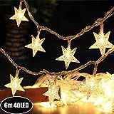 Sterne Lichterkette Galaxer 40 Stücke LED Stern Nacht Weihnachten String Lichter 20Ft / 6M Monochrome Modus Warmweiß Dekoration Licht zum Geburtstag oder Urlaub Party
