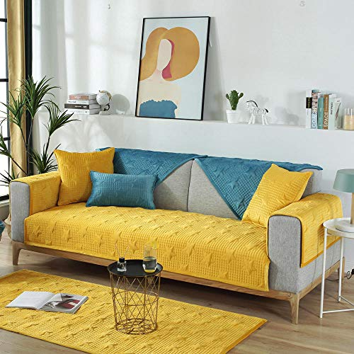 Suuki living room Furniture covers,couch towel,Plush 2/3/4 seater sofa Slip Cover,childs room couch slipcover,Patio/home universal couch covers,children's play mat-yellow_110*160cm