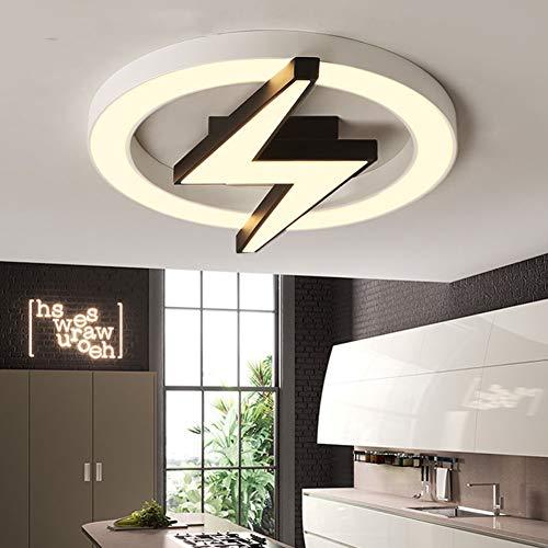 QINAIDI Kinderzimmer LED-Deckenleuchte - Einfache modern stilvolle Persönlichkeit Deckenleuchte, rund Blitz kreative Karikatur-Lampen stufenlose Dimmen,52cmindiameter