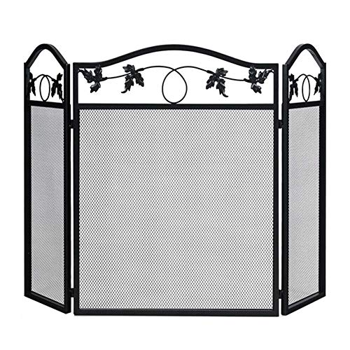 YAOJP Protector Plano de Pantalla de Chimenea de 3 Paneles con decoración de Malla metálica, Protector de chispas Seguro para bebés Independiente para Sala de Estar, Plegable, Alto 29'