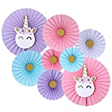 Unicorn Theme Party Decoration Paper Fan -Set of 8