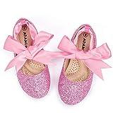 ADAMUMU Ballerina Ribbon Tie Girls Dress Shoes Glitter Flats Cute Bow Mary Jane Shoes,Flower Girls for Wedding Birthday Party or School Daily Dress Up,Glitter Pink,1M Big Kid