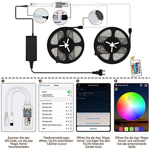 LED Striplight Tira De LED WiFi,Impermeable IP65 5050 15M 20M Con 24 Controladores Inalámbricos Inteligentes Tira llevada LED Strips Lights Para la Decoración de la Cocina, Dormitorio, Navidad, etc