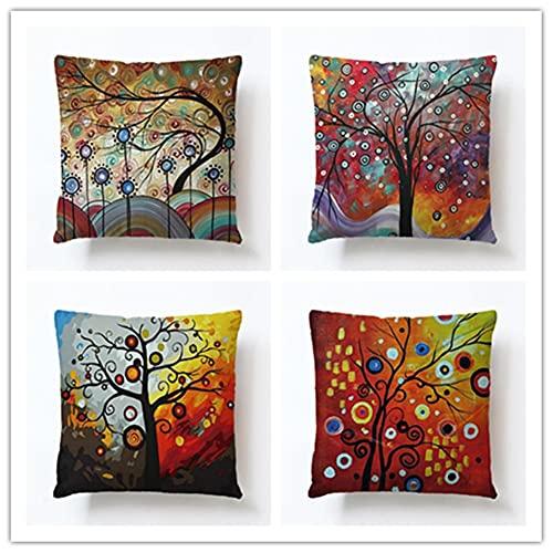 HYOOPL Pack de 4,Funda de Cojine 35x35cm 14x14 Inch Cuadrado Cushion Cover Decoración Algodón Lino Lanzar Funda de Almohada Caso de la Cubierta Cojines para Sofá Decorativo,Árbol Colorido A3467