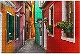 1000 piezas-Callejón de coloridos edificios de Burano Venecia Italia Rompecabezas de madera DIY Niños Rompecabezas educativos Regalo de descompresión para adultos Juegos creativos Juguetes Rompecabez