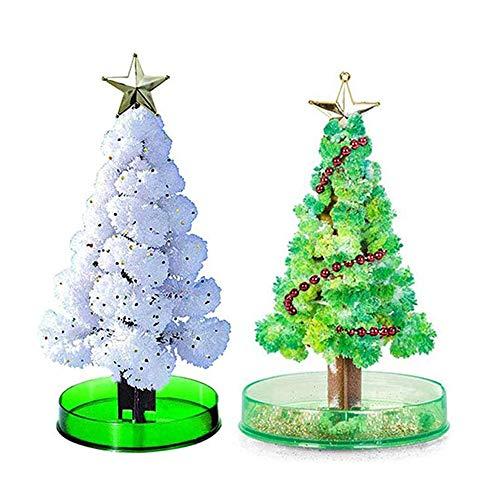 Árvore mágica, 2 peças de árvore de Natal para cultivo mágico de cristal, brinquedo de ciência festivo de cultivo, árvore de papel, kit de cultivo de cristal/ornamentos, brinquedo de decoração, novidade, presente de Natal, kits de ciência para meninos e meninas