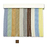 Cortinas Exterior Puerta de Cordon | Tiras Plastico PVC y Barra Aluminio | Ideal para Terraza y Porche | Antimoscas | Beige-Marrón Oscuro | 210 * 90