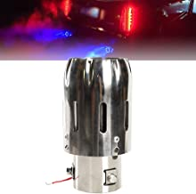 2.5'' 63mm Exhaust Tips Stainless Steel Muffler Car Exhaust Tail Pipe Modification Luminous Tube With Blue Flame LED light