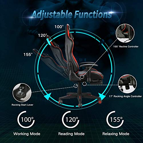 Hbada Gaming Chair Racing Style Ergonomic High Back Computer Chair with Height Adjustment, Headrest and Lumbar Support E-Sports Swivel Chair with Footrest, Red