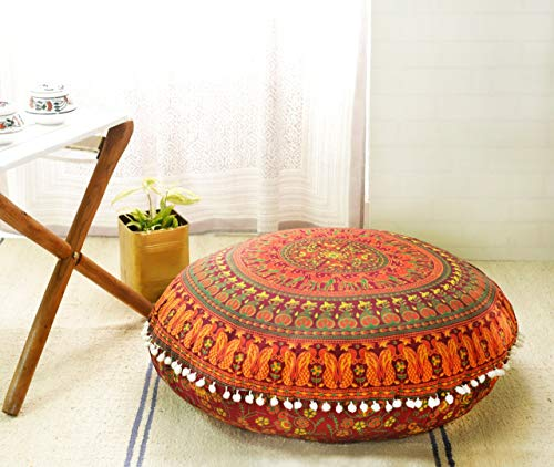 Popular Handicrafts Large Hippie Mandala Floor Pillow Cover - Cushion Cover - Pouf Cover Round Bohemian Yoga Decor Floor Cushion Case- 32 Maroon