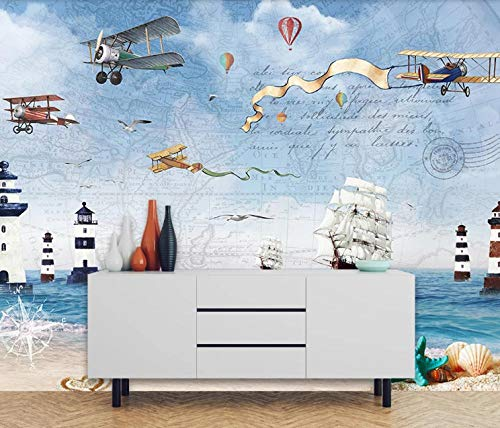 Fotobehang, muurschildering, zee, boot, koplampen, stickers voor slaapkamer, woonkamer, tv, achtergrond decoratie van het huis 200 x 140 cm
