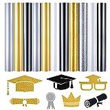 MIAHART 11 Sheets Graduation Heat Transfer Vinyl Glitter Iron-on Vinyls Bundles Graduate Squad Custom Themed HTV Vinyl Sheets for Clothing, Hats DIY Crafts Supplies (White Gold Black)