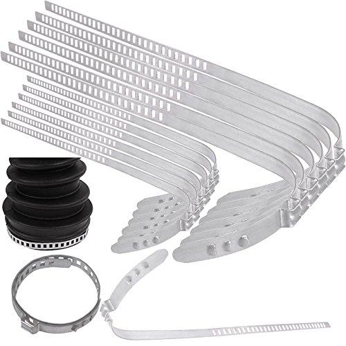 TecPo Universal Achsmanschetten Schellen 6X groß 6X klein 28 bis 124 mm Klemmschelle Ohrschelle, 7 mm Breit