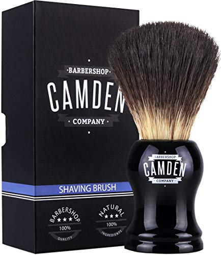 Brocha de afeitar de Camden Barbershop Company ● Vegan Badger 2.0 ● Para afeitado húmedo ● Pelo de tejón vegano