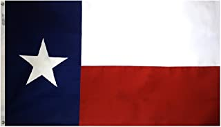 Annin Flagmakers Model 145307 Texas State Flag Tough-Tex The Strongest, Longest Lasting, 5x8 ft, 100% Made in USA to Official Design Specifications Stripe and Sewn Appliqued Star with Brass Grommets