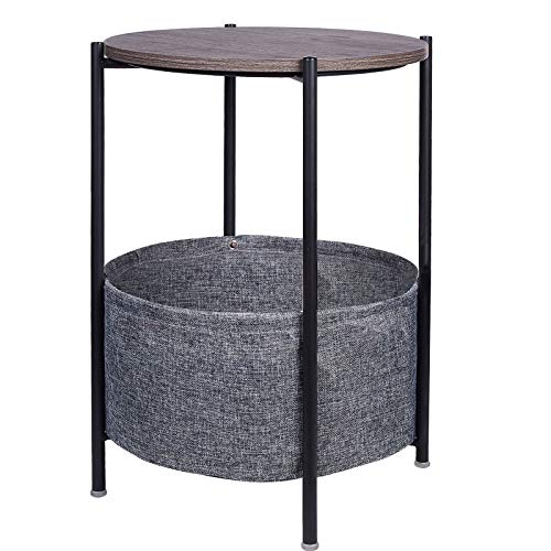 JANE EYRE Round Side Table with Storage Basket Small End Table Nightstand with Fabric Storage for Living Room Bedroom Home Office