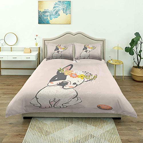 Funda nórdica, Bulldog francés Dibujado a Mano con Guirnalda en la Cabeza Mascota doméstica de Acuarela, Juego de Cama de Microfibra de Lujo, Ligero cómodo