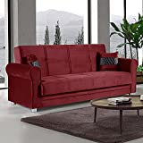 Ottomanson Collection Sara Convertible Furniture with Storage, Sofabed, Burgundy