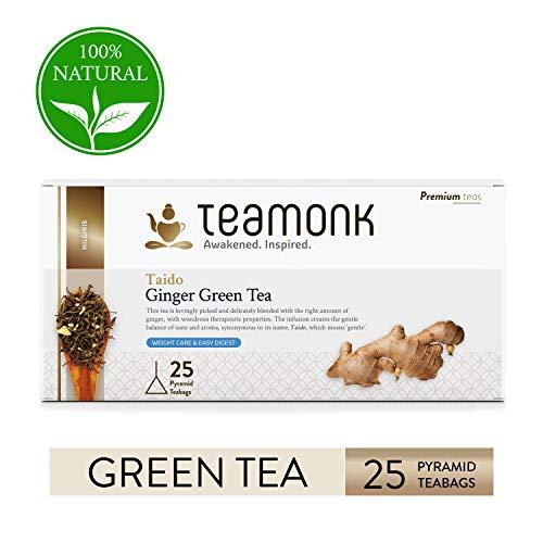 Teamonk Taido Nilgiri té verde jengibre - 30 bolsitas de té | té para bajar de peso | té adelgazante | ayuda a mejorar la digestión | té de jengibre natural | sin aditivos