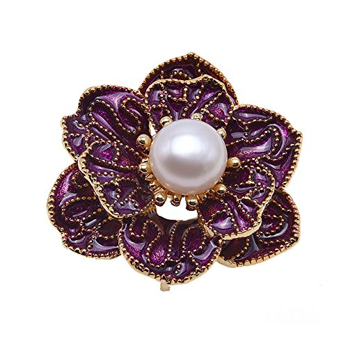 JYX Pearl Fine White Freshwater Pearl Bouquet Brooches Pins-Purple-Tone