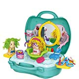 Deardeer Dough Crazy Cut Barbershop Playset 27Pcs Playdough Haircut Hair Style Pretend Play Toys with Dough and Molds in a Portable Suitcase Kids Gift Set