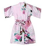 WonderFit Girls Stain Kimono Peacock Flower Robe for Spa Wedding Birthday Pink 7-8