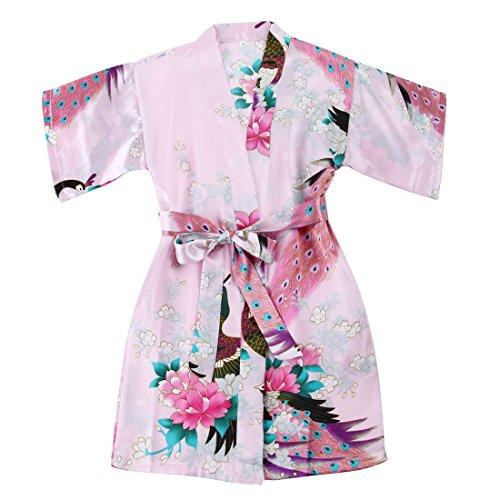 Albornoz de satn FAYBOX BRIDAL, para nia, diseo de pavo real y flores Rosa rosa 9-10 Aos