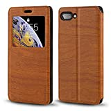 BlackBerry Key 2 Case, Wood Grain Leather Case with Card