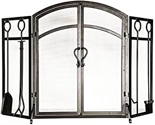 50.3-in Eggshell Black Powder Coated Steel 3-Panel Arched Twin Fireplace Screen + 4 Tools