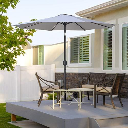 MasterCanopy Garden Patio Parasol Outdoor Fe-Al Market Table Parasol Umbrella with 8 Sturdy Ribs(2.7M,Grey)