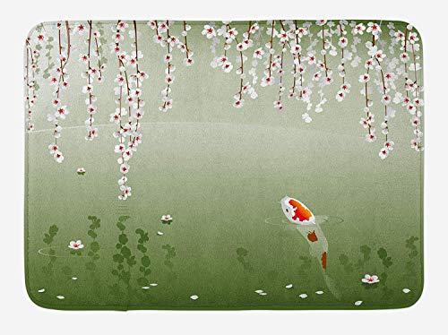 Kanaite Koi Poisson Tapis De Bain, Japonais Koi Poisson Peinture Style Suspendu Fleurs De Cerisier Feuilles Flottantes, Peluche Salle De Bains Décor Tapis avec Support Antidérapant