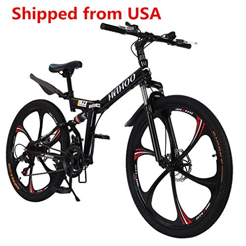 Reicety Lightweight 26 Inch 21 Speeds Mountain Bikes Dual Disc Brakes Mountain Bike Full Suspension Non-Slip Bicycles with Adjustable Seat (135x72x20cm)