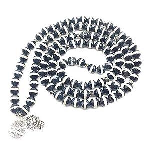 SWAOOS Damen Yogi Armband Mode Hand von Fatima Charm Armband 108 Mala Dzi Perlen Armband Halskette