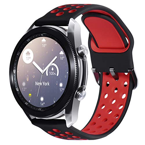 Surace Compatible with Galaxy Watch 3 Band 45mm, Soft Silicone Sport Band with Quick-Release Pin Replacement for Galaxy Watch 46mm Bands Smart Watch, Black/Red
