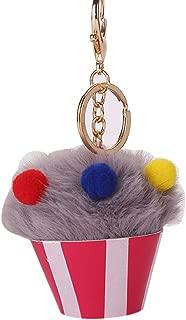 Sanwooden Cute Key Ring Summer Ice Cream Shape Soft Plush Keychain Key Holder Women Bag Hanging Pendant Girl Fashion Accessories