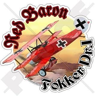 """FOKKER TRIPLANE RED BARON Richthofen WWI German 4,6"""" (117mm) Vinyl Sticker, Decal"""