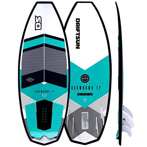 "Driftsun Throwdown T2 Wakesurf Board - 4' 6"" Length Custom Surf Style Wakesurfer, Quad Fin Set Included"