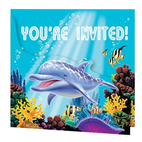 Creative Converting Enhanced Ocean Party Foldover Invitation, One Size, Multicolor