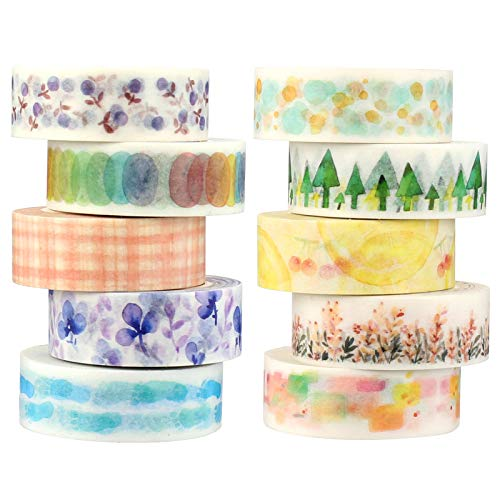 RosewineC Washi Tape Set 10 Rolls Washi Masking Tape Dekoratives Klebeband für Scrapbooking Bullet Tagebuch Geschenkverpackung Urlaubsdekoration