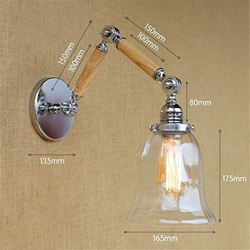 T-ZBDZ Romantische Kunst Doppel-Holz-Wandleuchte, Teleskop-Justage Glaswand Lampe, Nachttisch A10 + 10cm