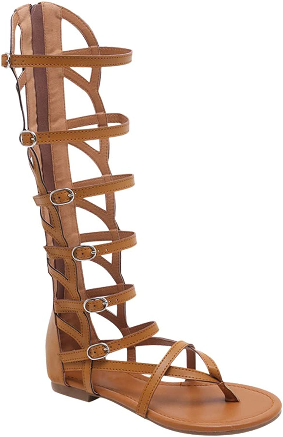 Uirend Gladiator Sandals Cut Out Boots Women - Ladies Knee High Ankle Strap shoes Open Toe Roman Sandals Casual Beach Summer