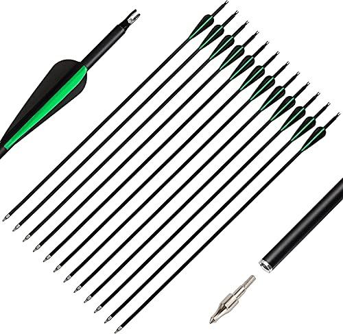 The7boX 30 Pulgadas Flechas Carbono 12 Piezas, Flechas de Caza Espina 600...