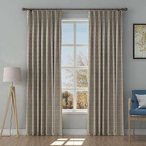 TWOPAGES Tan Pinch Pleated Drapes for Traverse Rod, Jacquard Window Treatment Curtains Light Reducing Cotton Curtains (2 Panels, 58 inch Wide by 96 inch Long)