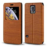 Samsung Galaxy S5 i9600 Case, Luxury Wood Grain Leather Case with Card Slot Notification Window Protective Magnetic Flip Cover for Samsung Galaxy S5 i9600 (Brown)