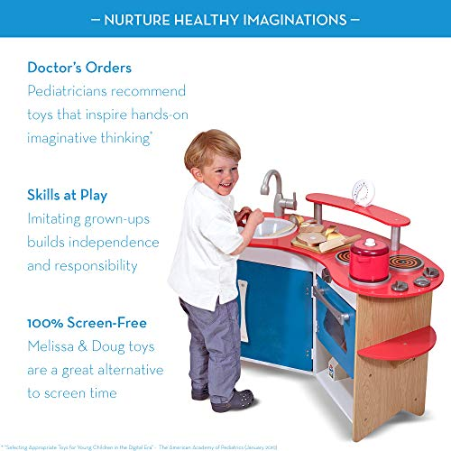 Melissa & Doug Corner Wooden Kitchen is a high quality wood play kitchen toy for kids