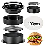 Hamburger Press Patty Maker, TAOUNOA 3 in 1 Non-Stick Burger Press for MakingDelicious Burgers, Perfect Shaped Patties, for grilling and cooking, with 100 PCS Wax Paper.