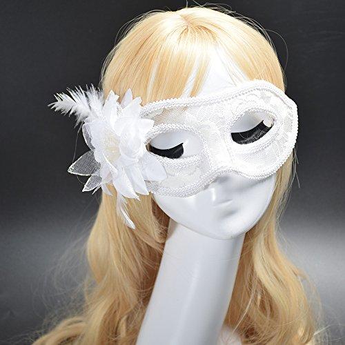 Dusenly Máscara de Encaje Sexy para Mujer,  máscara Veneciana,  Disfraz Veneciano,  máscaras de Disfraces,  Carnaval,  Fiesta de Halloween,  Baile de Gala,  máscara de Disfraces (Blanco)